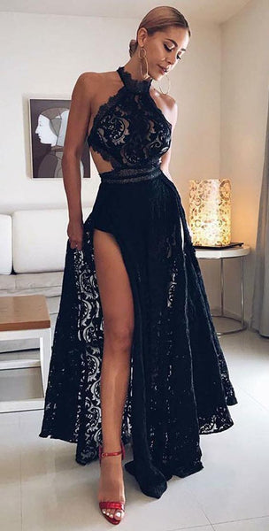 A-Line Halter Floor Length Black Open Back Lace Prom Dress with Split, F0022