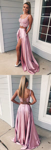 Charming A Line Two Piece Sweetheart Cross Back Split Blush Pink Lace Long Prom Dresses, Elegant Evening Party Dresses, F0023