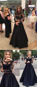 Two Piece Crew Floor-Length Long Sleeves Black Stretch Satin Prom Dress With Lace , F0024