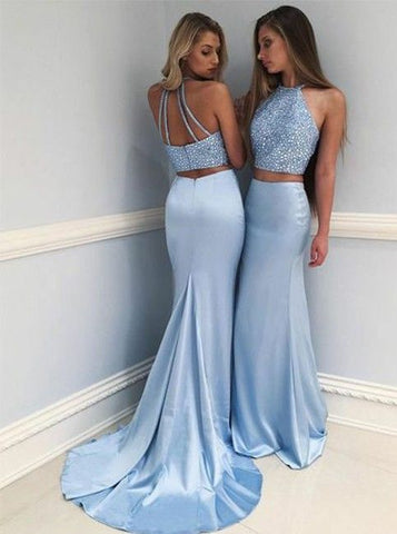 F0028,Unique Two-Piece Long Prom Dress Round Neck Sweep Train Blue Prom Dress with Beading Cheap