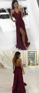 F0035 Simple v neck burgundy long prom dress, evening dress,