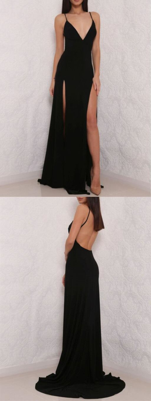F0037 Sexy Black Spaghetti Strap Prom Dress,V neck Prom Dress,Open Back Prom Dress with Side Slit, Simple Prom Dress
