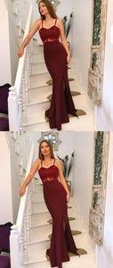 F0041 Unique burgundy mermaid prom dresses with slit, elegant evening gowns with appliques, simple spaghetti straps trumpet party dresses