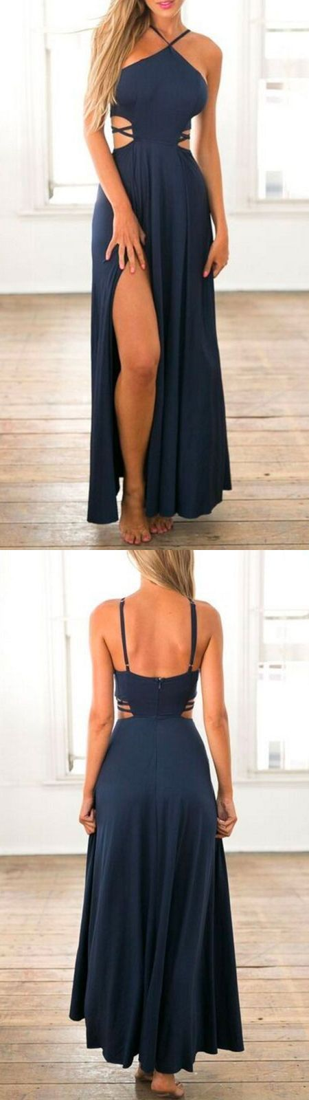 F0042 Sexy A-Line Halter Sleeveless Navy Blue Long Prom Dress