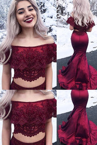 F0050  Two Piece Mermaid Prom Dress Burgundy Long Prom Dress