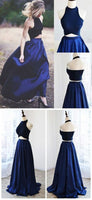 F0052 Prom Gown,Two Piece Navy Blue Satin Prom Dresses Long Evening Dress