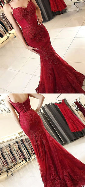 F0053 Burgundy Spaghetti Straps Mermaid Prom Dresses, Elegant Low Back Evening Gowns With Appliques, Modest Sweep Train Party Dress