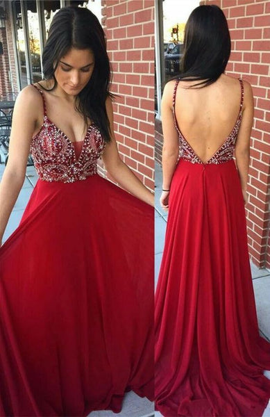 F0054 Spaghetti Straps Prom Dress, Burgundy Backless Party Dress, Satin Long Evening Dress