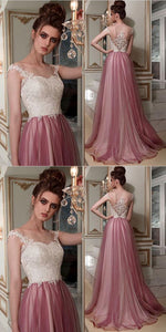 F0056 Chic A-line Bateau Lace Prom Dresses Pink Long Prom Dress Evening Dress
