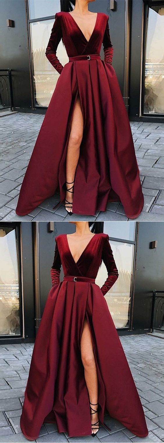 F0057 A-Line V-neck Long Sleeves Floor-Length Burgundy Split Prom Dress with Pockets