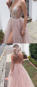 F0059 Save Sexy Beaded Open Back Tulle Split Long Evening Prom Dresses