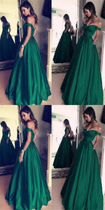 F0062 Green Off The Shoulder Prom Dress, Satin Prom Dress, Charming Prom Dress, Elegant Prom Dress