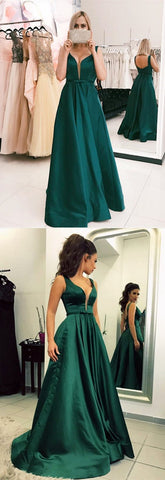 F0063 Green Off The Shoulder Prom Dress, Satin Prom Dress, Charming Prom Dress, Elegant Prom Dress