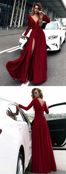 F0064 Sexy Deep V Neck Long Sleeves Prom Dresses 2019 Leg Split Evening Gowns burgundy prom dress,long sleeves prom dress,chiffon prom dress,long