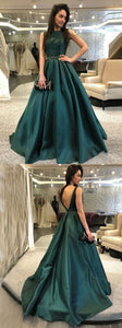 F0066 Elegant Satin Long Prom Dresses Backless Evening Dresses Sweep A-Line Formal Dresses