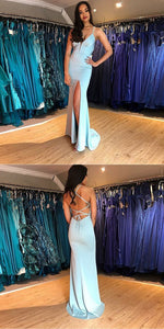 F0069 Mermaid Spaghetti Straps V-neck High Split Lace Up Prom Dresses