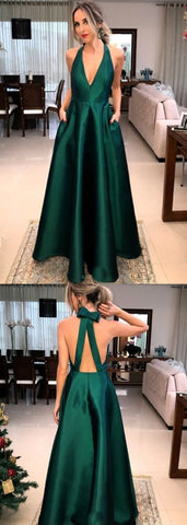 F0071 Halter V Neck Satin Long Prom Dress Green Formal Evening Gown