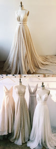 F0073 Chic Prom Dresses A-line Spaghetti Straps Tulle Long Prom Dress/Evening Dress