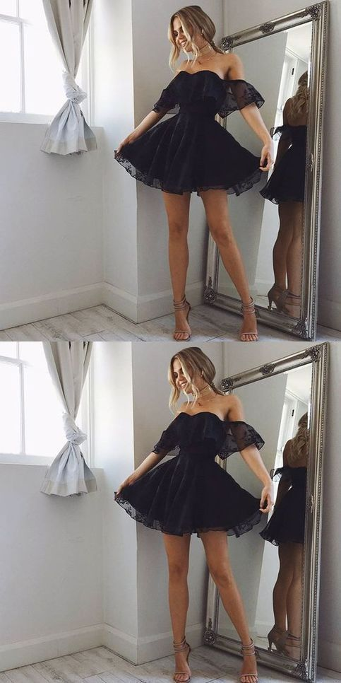 F0075 A-Line Off-the-Shoulder Short Pearl Black Lace Homecoming Dress
