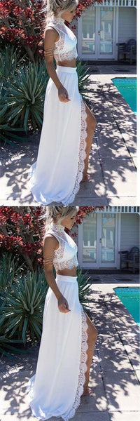 F0076 White Lace 2 Piece High Neck Slit New Prom Dress Evening Gowns