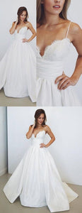 F0077 Simple white v neck long prom dress, white evening dress