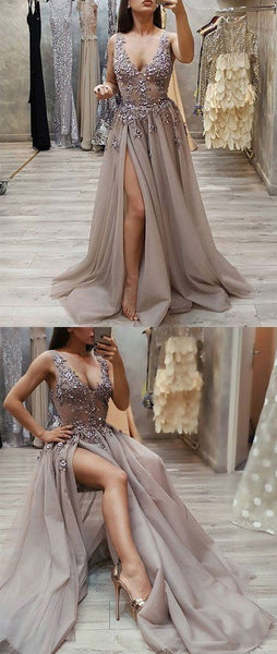 F0080 Sexy V Neck Tulle Prom Dress, Appliques Long Evening Dress
