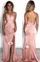 F0081 Simple Straps Pink Long Prom Dress with Side Slit
