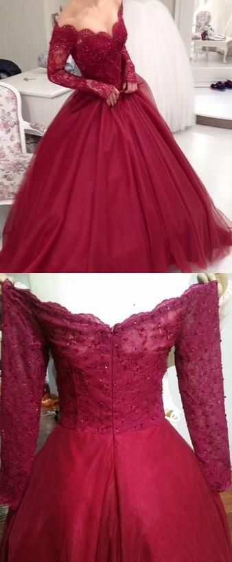 F0082 Appliqued Burgundy Long Ball Gown Prom Dress,2019 Colored Wedding Dress