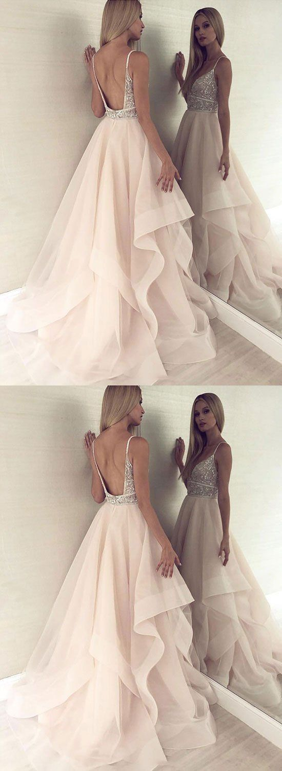 F0085 Champagne v neck tulle beaded long prom dress, evening dress