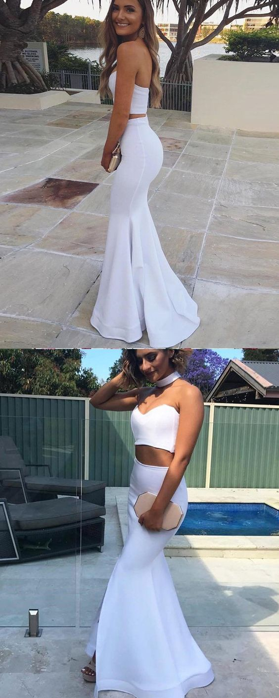 F0086 Two Piece Satin White Sweetheart Mermaid Prom Dress with Side Slit