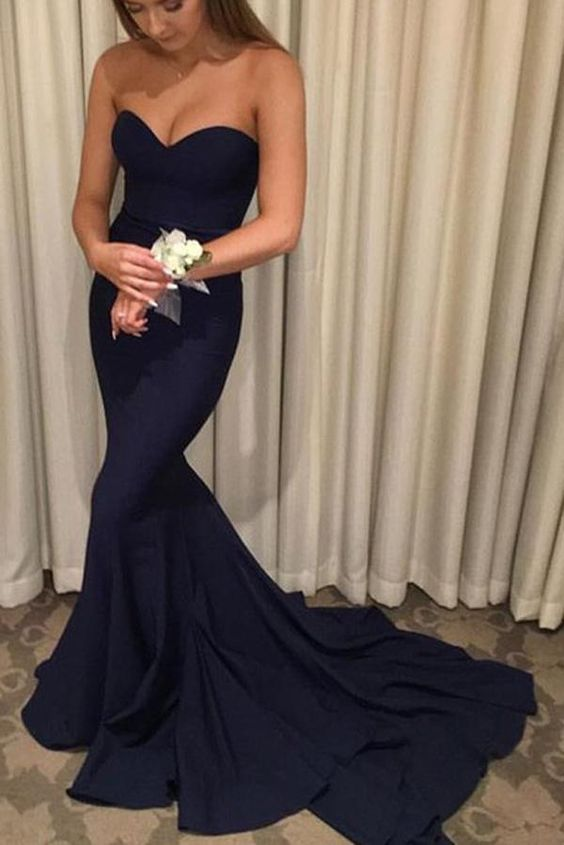 F0093 Navy Blue Mermaid Off Shoulder Long Prom Dresses with Sweep Train
