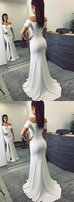 F0097 Simple Mermaid Off-The-Shoulder Split Front White Long Prom Dress