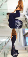 F0099 Charming Mermaid Halter Open Back Navy Lace Long Prom Dresses with Train, Elegant Evening Dresses
