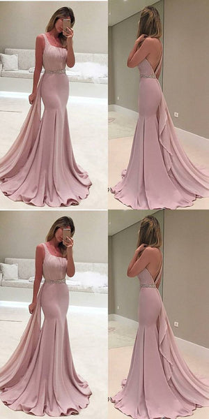 F0105 Mermaid One Shoulder Detachable Train Beaded Blush Prom Dress