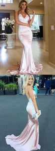 F0109 Elegant pink mermaid prom dress with appliques, modest backless party dress, simple spaghetti straps mermaid evening gowns