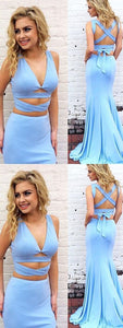 F0111 Two Piece Mermaid Prom Dress Modest Beautiful Cheap Long Prom Dress