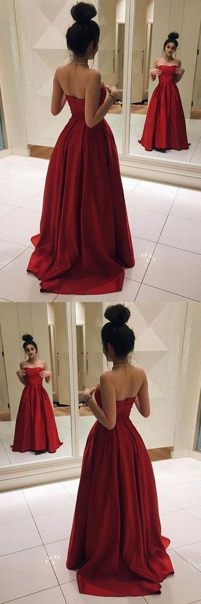 F0112 Red Long Prom Dresses, Elegant Red Satin Prom