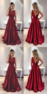 F0113 Elegant A-Line Jewel Sleeveless Burgundy Long Prom Dress With Appliques