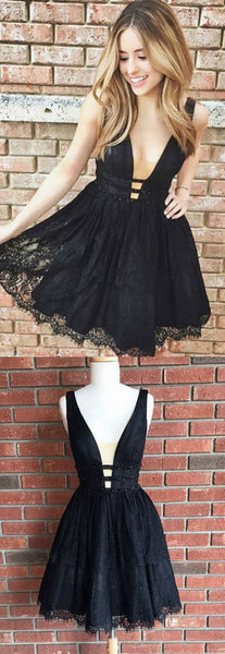 F0122 Black Homecoming Dress, V Neck Homecoming Dress, Lace Homecoming Dress