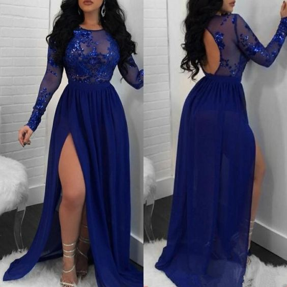 F0123 Long Royal Blue Chiffon Prom Dress Long Sleeves Lace Women Evening Dress Split
