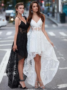 F0125 Fashion Lace High Low Spaghetti Straps Prom Dresses