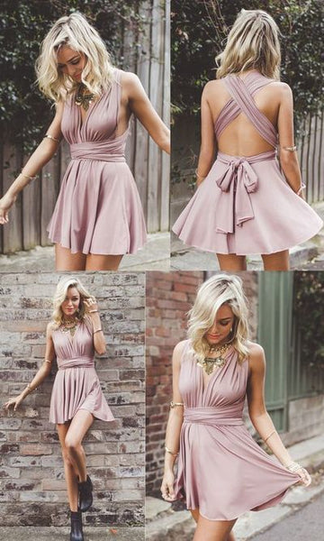 F0126 A-Line Homecoming Dress, Deep V-Neck Homecoming Dress, Short Homecoming