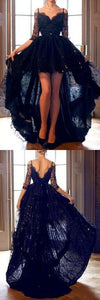 F0127    High Low Lace Prom Dress Prom Dresses Party Formal Wear