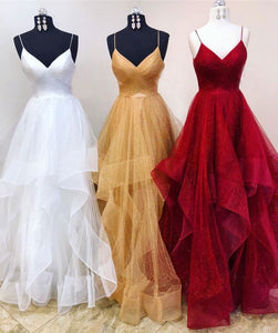 F0129 Elegant Spaghetti Straps Organza Ball Gown Prom Dresses Wedding Dresses