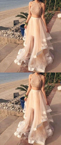 F0132 Top New Prom Dress White Two Pieces Sequin Tulle Long Prom Dress,Evening Dress Elegant Evening Dresses Sexy Party Gowns