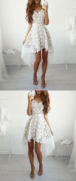 F0133 Cheap Delightful Prom Dress A-Line, Prom Dress Lace, Lace White Homecoming Dresses, High Low Homecoming Dresses