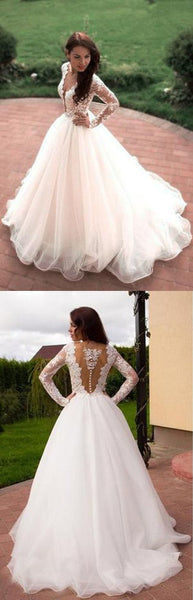F0134 Princess A-Line V-Neck Tulle Ivory Long Sleeves Wedding Dresses