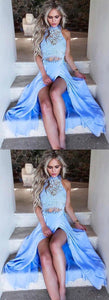F0135 High Fashion Two-Piece Blue Split Front Long Prom/Evening Dress