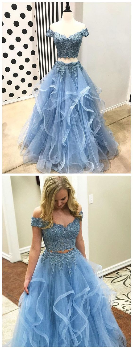 F0136 Off The Shoulder Two Piece Prom Dresses,Lace 2 Piece Formal Dresses