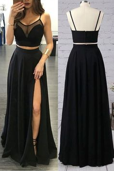F0139 Sexy Two Piece Prom Dress A-line Black Chiffon High Split Long 2 Pieces Prom Dresses Prom Gown Party Dress